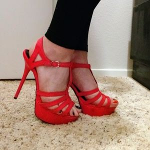 Sexy Hot Pink Strappy Heels SZ 9